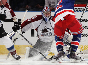 NEW YORK - OCTOBER 18: Craig Anderson #41 of the Colorado Avalanche makes the third period save against the New York Rangers at Madison Square Garden on October 18, 2010 in New York City. The Avalanche defeated the Rangers 3-1.  (Photo by Bruce Bennett/Ge