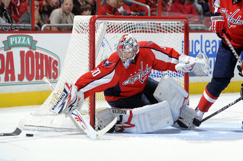 WASHINGTON - OCTOBER 11:  Michal Neuvirth #30 of the Washington Capitals makes a save against the Ottawa Senators at the Verizon Center on October 11, 2010 in Washington, DC.  (Photo by Greg Fiume/Getty Images)