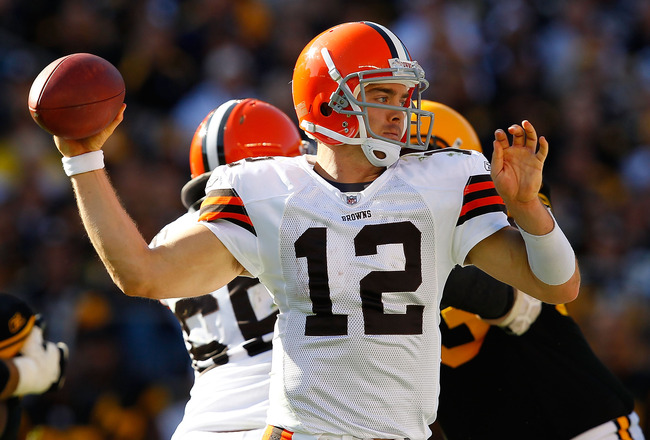 PITTSBURGH - OCTOBER 17:  Colt McCoy #12 of the Cleveland Browns makes a pass against the Pittsburgh Steelers during the game on October 17, 2010 at Heinz Field in Pittsburgh, Pennsylvania.  (Photo by Jared Wickerham/Getty Images)