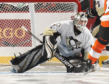 PHILADELPHIA - OCTOBER 16: Brent Johnson #1 of the Pittsburgh Penguins tends net against the Philadelphia Flyers at the Wells Fargo Center on October 16, 2010 in Philadelphia, Pennsylvania.  (Photo by Bruce Bennett/Getty Images)