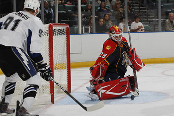 zSUNRISE, FL - OCTOBER 1: Goaltender Tomas Vokoun #29 of the Florida Panthers stops a shot by Steven Stamkos #91 of the Tampa Bay Lightning during a pre season game on October 1, 2010 at the BankAtlantic Center in Sunrise, Florida. The Lightning defeated