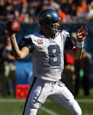 CHICAGO - OCTOBER 17: Matt Hasselbeck #8 of the Seattle Seahawks throws a pass against the Chicago Bears at Soldier Field on October 17, 2010 in Chicago, Illinois. The Seahawks defeated the Bears 23-20. (Photo by Jonathan Daniel/Getty Images)