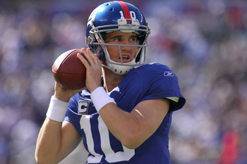 EAST RUTHERFORD, NJ - OCTOBER 17:  Eli Manning #10 of the New York Giants against the Detroit Lions at New Meadowlands Stadium on October 17, 2010 in East Rutherford, New Jersey.  (Photo by Nick Laham/Getty Images)