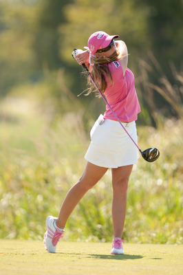 PRATTVILLE, AL - OCTOBER 10: Paula Creamer follows through on a tee shot during the final round of the Navistar LPGA Classic at the Senator Course at the Robert Trent Jones Golf Trail on October 10, 2010 in Prattville, Alabama. (Photo by Darren Carroll/Ge