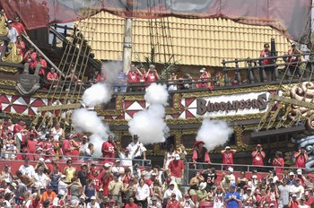 TAMPA, FL - SEPTEMBER 23:  Pirates aboard the Tampa Bay Buccaneers end zone ship entertain with a volley of fireworks during play against the St. Louis Rams at Raymond James Stadium on September 23, 2007 in Tampa, Florida. The  Bucs won 24 - 3. (Photo by