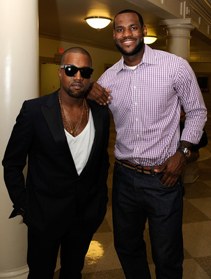 GREENWICH, CT - JULY 08:  Kanye West and LeBron James pose backstage prior to the LeBron James announcement of his future NBA plans at the  Boys & Girls Club of America on July 8, 2010 in Greenwich, Connecticut.  (Photo by Larry Busacca/Getty Images for E
