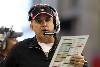 GLENDALE, AZ - OCTOBER 10:  Head coach Sean Payton of the New Orleans Saints walks the sidelines during the NFL game against the Arizona Cardinals at the University of Phoenix Stadium on October 10, 2010 in Glendale, Arizona. The Cardinals defeated the Sa