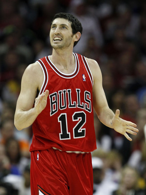CLEVELAND - APRIL 27:  Kirk Hinrich #12 of the Chicago Bulls reacts after missing a shot while playing the Cleveland Cavaliers in Game Five of the Eastern Conference Quarterfinals during the 2010 NBA Playoffs at Quicken Loans Arena on April 27, 2010 in Cl