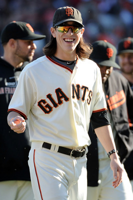 SAN FRANCISCO - OCTOBER 19:  Tim Lincecum #55 of the San Francisco Giants celebrates after the Giants beat the Philadelphia Phillies 3-0 in Game Three of the NLCS during the 2010 MLB Playoffs at AT&amp;T Park on October 19, 2010 in San Francisco, California. 