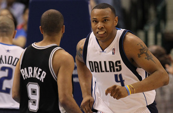 DALLAS - APRIL 27:  Forward Caron Butler #4 of the Dallas Mavericks reacts during play against the San Antonio Spurs in Game Five of the Western Conference Quarterfinals during the 2010 NBA Playoffs at American Airlines Center on April 27, 2010 in Dallas,