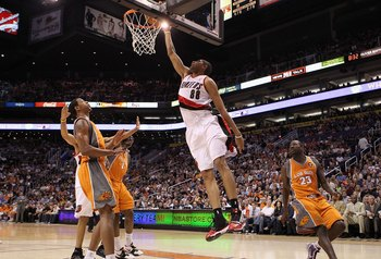PHOENIX - MARCH 21:  Nicolas Batum #88 of the Portland Trail Blazers puts up a shot during the NBA game against the Phoenix Suns during at US Airways Center on March 21, 2010 in Phoenix, Arizona. NOTE TO USER: User expressly acknowledges and agrees that,