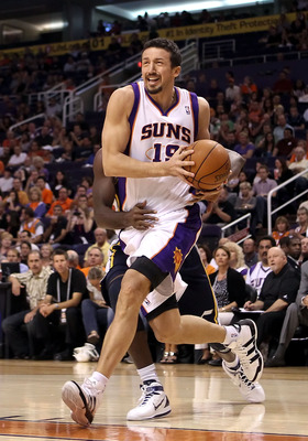 PHOENIX - OCTOBER 12:  Hedo Turkoglu #19 of the Phoenix Suns drives the ball during the preseason NBA game against the Utah Jazz at US Airways Center on October 12, 2010 in Phoenix, Arizona. NOTE TO USER: User expressly acknowledges and agrees that, by do