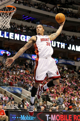 DALLAS - FEBRUARY 12:  Michael Beasley #30 of the Sophomore team goes up for a dunk against the Rookie team during the T-Mobile Rookie Challenge & Youth Jam part of 2010 NBA All-Star Weekend at American Airlines Center on February 12, 2010 in Dallas, Texa