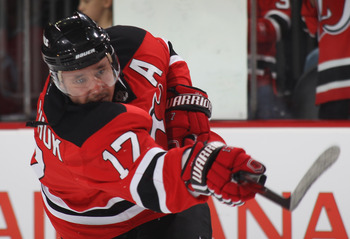 NEWARK, NJ - SEPTEMBER 28:  Ilya Kovalchuk #17 of the New Jersey Devils skates against the Philadelphia Flyers at the Prudential Center on September 28, 2010 in Newark, New Jersey.  (Photo by Bruce Bennett/Getty Images)