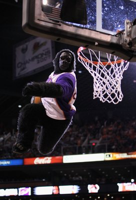 PHOENIX - APRIL 26:  The Phoenix Suns mascot 'Gorilla' performs during Game Five of the Western Conference Quarterfinals of the 2010 NBA Playoffs against the Portland Trail Blazers at US Airways Center on April 26, 2010 in Phoenix, Arizona. The Suns defea