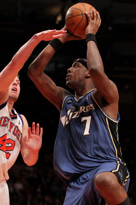 NEW YORK - FEBRUARY 03: Andray Blatche #7 of the Washington Wizards goes up for a shot against David Lee #42 of the New York Knicks at Madison Square Garden February 3, 2010 in New York City. NOTE TO USER: User expressly acknowledges and agrees that, by d