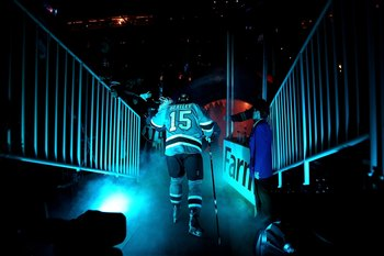 SAN JOSE, CA - APRIL 29:  Dany Heatley #15 of the San Jose Sharks walks on to the ice for their game against the Detroit Red Wings in Game One of the Western Conference Semifinals during the 2010 NHL Stanley Cup Playoffs at HP Pavilion on April 29, 2010 i
