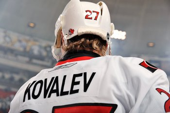 PITTSBURGH - DECEMBER 23:  Forward Alex Kovalev #27 of the Ottawa Senators skates during pregame warm ups before a game against the Pittsburgh Penguins on December 23, 2009 at Mellon Arena in Pittsburgh, Pennsylvania.  (Photo by Jamie Sabau/Getty Images)