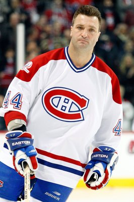 MONTREAL- DECEMBER 4:  Former Montreal Canadiens Stephane Richer skates during the Centennial Celebration ceremonies prior to the NHL game between the Montreal Canadiens and Boston Bruins on December 4, 2009 at the Bell Centre in Montreal, Quebec, Canada.