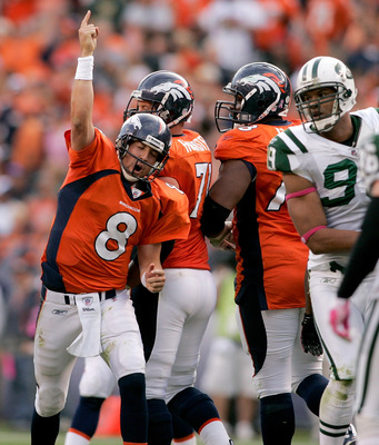 DENVER - OCTOBER 17:  Quarterback Kyle Orton #8 of the Denver Broncos signals for a first down against the New York Jets at INVESCO Field at Mile High on October 17, 2010 in Denver, Colorado.  (Photo by Justin Edmonds/Getty Images)