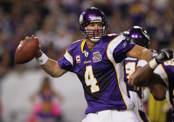MINNEAPOLIS - OCTOBER 17:  Quarterback Brett Favre #4 of the Minnesota Vikings drops back to pass during the fourth quarter against the Dallas Cowboys at Mall of America Field on October 17, 2010 in Minneapolis, Minnesota. The Vikings defeated the Cowboys