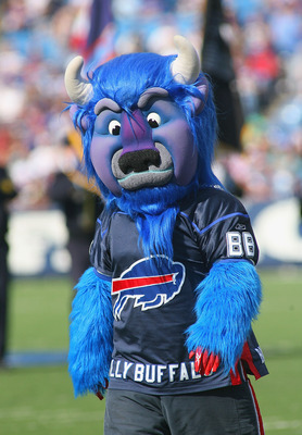 ORCHARD PARK, NY - OCTOBER 10: Buffalo Bills mascot Billy Buffalo walks off the field prior to play against the Jacksonville Jaguars at Ralph Wilson Stadium on October 10, 2010 in Orchard Park, New York. Jacksonnville won 36-26. (Photo by Rick Stewart/Get