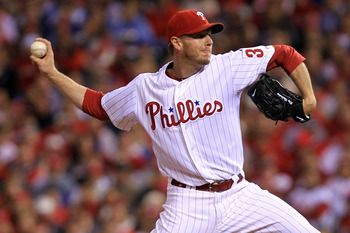 PHILADELPHIA - OCTOBER 16:  Roy Halladay #34 of the Philadelphia Phillies pitches against the San Francisco Giants in Game One of the NLCS during the 2010 MLB Playoffs at Citizens Bank Park on October 16, 2010 in Philadelphia, Pennsylvania.  (Photo by Chr