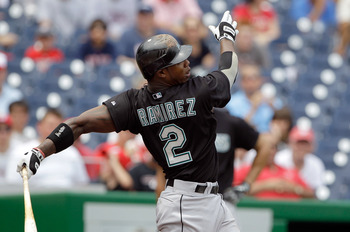 WASHINGTON, DC - JULY 28: Hanley Ramirez #2 of the Florida Marlins at the plate against the Washington Nationals at Nationals Park on July 28, 2011 in Washington, DC. (Photo by Rob Carr/Getty Images)