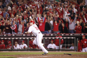 CINCINNATI, OH - SEPTEMBER 28: Jay Bruce #32 of the Cincinnati Reds celebrates a walk off home run against the Houston Astros at Great American Ball Park on September 28, 2010 in Cincinnati, Ohio. The Reds won 3-2 to clinch the NL Central Division title.