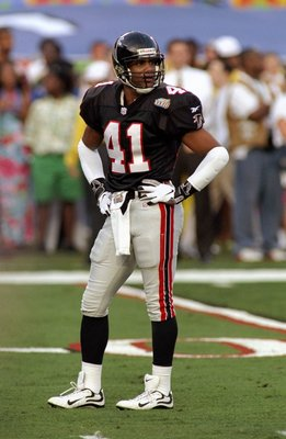 31 Jan 1999:  Eugene Robinson #41 of the Atlanta Falcons stands on the field looking on during the Super Bowl XXXIII Game against the Denver Broncos at the Pro Player Stadium in Miami, Florida. The Broncos defeated the Falcons 34-19.