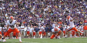 SEATTLE - SEPTEMBER 11:  Kicker Ross Krautman #37 of the Syracuse Orange kicks a field goal against the Washington Huskies on September 11, 2010 at Husky Stadium in Seattle, Washington. (Photo by Otto Greule Jr/Getty Images)