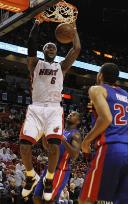 MIAMI - OCTOBER 05:  Forward LeBron James #6 of the Miami Heat dunks against  the Detroit Pistons on October 5, 2010 in Miami, Florida.  NOTE TO USER: User expressly acknowledges and agrees that, by downloading and or using this photograph, User is consen