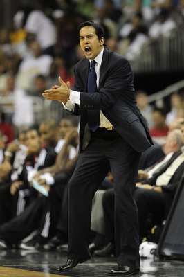 KANSAS CITY, MO - OCTOBER 08:  Head coach Erik Spoelstra of the Miami Heat in reacts during the game against the Oklahoma City Thunder on October 8, 2010 at the Sprint Center in Kansas City, Missouri.  (Photo by Jamie Squire/Getty Images)