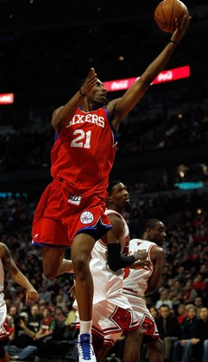 CHICAGO - FEBRUARY 20: Thaddeus Young #21 of the Philadelphia 76ers puts up a shot against the Chicago Bulls at the United Center on February 20, 2010 in Chicago, Illinois. The Bulls defeated the 76ers 122-90. NOTE TO USER: User expressly acknowledges and