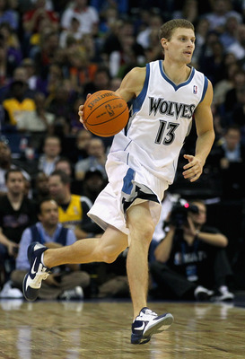 LONDON, ENGLAND - OCTOBER 04:  Luke Ridnour of the Minnesota Timberwolves in action during the NBA Europe Live match between the Los Angeles Lakers and the Minnesota Timberwolves at the O2 arena on October 4, 2010 in London, England.  (Photo by Clive Rose