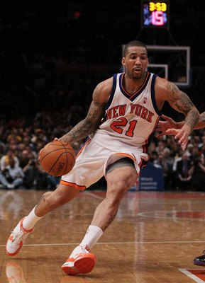 NEW YORK - JANUARY 22:  Wilson Chandler #21 of the New York Knicks in action against   the Los Angeles Lakers during their game at Madison Square Garden on January 22, 2010 in New York, New York.  NOTE TO USER: User expressly acknowledges and agrees that,