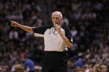 SAN ANTONIO - APRIL 23:  NBA referee Dick Bavetta in Game Three of the Western Conference Quarterfinals during the 2010 NBA Playoffs at AT&T Center on April 23, 2010 in San Antonio, Texas. NOTE TO USER: User expressly acknowledges and agrees that, by down