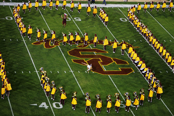 LOS ANGELES - SEPTEMBER 17:  The marching band performs before the NCAA game between the USC Trojans and the Arkansas Razorbacks on September 17, 2005 at the Memorial Coliseum in Los Angeles, California.  (Photo by Donald Miralle/Getty Images)