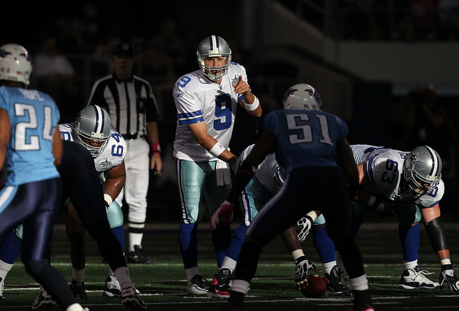 ARLINGTON, TX - OCTOBER 10:  Quarterback Tony Romo #9 of the Dallas Cowboys at Cowboys Stadium on October 10, 2010 in Arlington, Texas.  (Photo by Ronald Martinez/Getty Images)