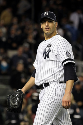 NEW YORK - OCTOBER 18:  Andy Pettitte #46 of the New York Yankees walks back to the dugout at the end of the top of the seventh inning against the Texas Rangers in Game Three of the ALCS during the 2010 MLB Playoffs at Yankee Stadium on October 18, 2010 i