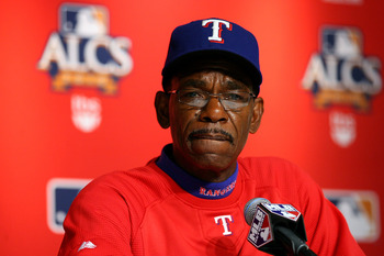 NEW YORK - OCTOBER 20:  Manager Ron Washington of the Texas Rangers speaks during a pregame press conference against the New York Yankees in Game Five of the ALCS during the 2010 MLB Playoffs at Yankee Stadium on October 20, 2010 in the Bronx borough of N