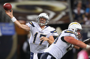 ST. LOUIS - OCTOBER 17: Philip Rivers #17 of the San Diego Chargers passes against the St. Louis Rams at the Edward Jones Dome on October 17, 2010 in St. Louis, Missouri.  The Rams beat the Chargers 20-17.  (Photo by Dilip Vishwanat/Getty Images)