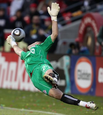 SANDY, UTAH - MAY 1:  Goalie Stefan Frei #24 of Toronto FC blocks a goal kick during the game against Real Salt Lake at Rio Tinto Stadium on May 1, 2010 in Sandy, Utah.  Real Salt Lake defeated Toronto FC 2-1. (Photo by George Frey/Getty Images)