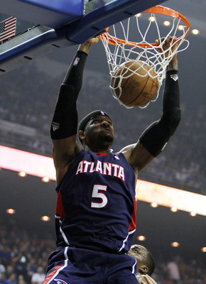 ORLANDO, FL - MAY 06:  Josh Smith #5 of the Atlanta Hawks dunks against the Orlando Magic in Game Two of the Eastern Conference Semifinals during the 2010 NBA Playoffs at Amway Arena on May 6, 2010 in Orlando, Florida. NOTE TO USER: User expressly acknowl