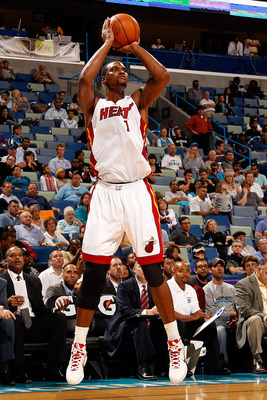 NEW ORLEANS - OCTOBER 13:  Chris Bosh #1 of the Miami Heat in action during the game against the New Orleans Hornets at the New Orleans Arena on October 13, 2010 in New Orleans, Louisiana.  NOTE TO USER: User expressly acknowledges and agrees that, by dow