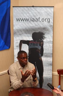 MONTE CARLO, MONACO - NOVEMBER 25:  Carl Lewis of USA holds a press interview prior to the IAAF World Athletics Gala at the Sporting Club November 25, 2007 in Monte Carlo, Monaco.  (Photo by Michael Steele/Getty Images)