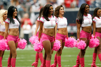 HOUSTON - OCTOBER 10:  Cheerleaders of the Houston Texans perform during the game against the New York Giants at Reliant Stadium on October 10, 2010 in Houston, Texas.  (Photo by Chris Graythen/Getty Images)