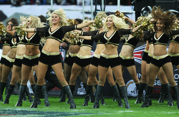 LONDON - OCTOBER 26: Cheerleaders perform during the Bridgestone International Series NFL match between San Diego Chargers and New Orleans Saints at Wembley Stadium on October 26, 2008 in London, England.  (Photo by Nick Laham/Getty Images)