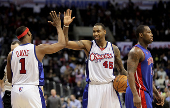 LOS ANGELES, CA - FEBRUARY 24:  Rasual Butler #45 of the Los Angeles Clippers is congratulated by Baron Davis #1 after scoring a basket in the closing minutes of the second half against the Detroit Pistons at Staples Center on February 24, 2010 in Los Ang