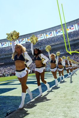 SAN DIEGO - SEPTEMBER 19:  The Charger Girls perform before the game between the Jacksonville Jaguars and the San Diego Chargers at Qualcomm Stadium on September 19, 2010 in San Diego, California.  (Photo by Stephen Dunn/Getty Images)